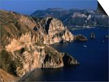 Coastline from Village Quattroochi and Island Vulcano in Background,Sicily, Italy Art by Dallas Stribley