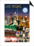 Las Vegas, Nevada - Las Vegas at Night Print by  Lantern Press