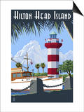 Hilton Head Island, SC - Harbour Town Lighthouse Prints by  Lantern Press