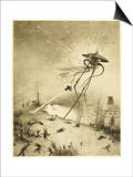 The War of the Worlds, a Martian Fighting-Machine is Destroyed by a Hit from a Shell Poster by Henrique Alvim Corrêa