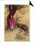 Little Red Riding Hood Meets the Wolf in the Woods Prints by Warwick Goble