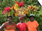 Grenadian Women Carrying Fruit on Their Heads near Annandale Falls, St. George, Grenada Posters by Holger Leue