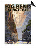 Big Bend National Park, Texas - Santa Elena Canyon Art by  Lantern Press