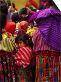 Women and Young Girl Watching the Zunil Easter Procession, Zunil, Guatemala Posters by Jeffrey Becom