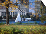 Sailing off the Esplanade on the Charles River, Boston, Massachusetts, USA Posters by Angus Oborn