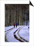 Women Jogging in a Wintery Park City, Park City, Utah, USA Prints by Cheyenne Rouse