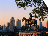 City Skyline Seen from Penn Valley Park, with Indian Statue in Foreground, Kansas City, Missouri Prints by John Elk III