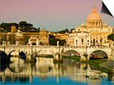 St Peter's Basilica from the Tiber River Print by Glenn Beanland