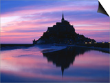 The Mont Reflected in the Bay at Dusk, Mont St. Michel, Basse-Normandy, France Posters by David Tomlinson