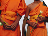 Orange-Robed Monks at Phra Pathom Chedi, the World's Talles Buddhist Monument Posters by Antony Giblin