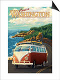 Cruise Washington - VW Van Poster by  Lantern Press