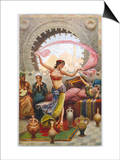 Middle Eastern Belly Dancer Dancing with a Veil to Musical Accompaniment Prints