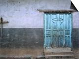 Blue Door and Cross on Wall Prints by Douglas Steakley