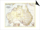 1948 Australia Map Art by  National Geographic Maps
