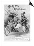 An Advertisement for Harley- Davidson Showing a Soldier Taking His Lady Friend for a Ride Prints