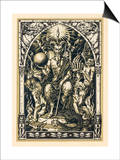Satan Presides at the Sabbat Attended by Demons in Human or Animal Shapes Print by Bernard Zuber
