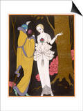 Mantle with a Yoke Voluminous Sleeves and Fur Trim and Close Fitting Hat with Aigrette Posters by Georges Barbier
