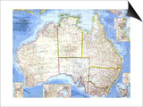 1963 Australia Map Poster by  National Geographic Maps