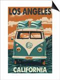 Los Angeles, California - VW Van Art by  Lantern Press