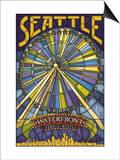 Waterfront Ferris Wheel - Seattle, Washington Prints by  Lantern Press