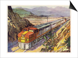 Train of the Santa Fe Railroad Drawn by a Diesel- Electric Locomotive Print