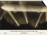 Zeppelin Illuminated by Searchlights Art