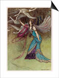The Queen and the Six Swans Print by Warwick Goble