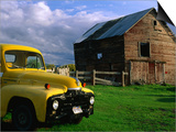 Old Barn and Yellow Pick-Up Truck in Montana, Montana, USA Prints by Carol Polich