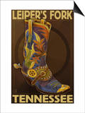 Leiper's Fork, Tennessee - Cowboy Boot Prints by  Lantern Press