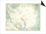 1957 Antarctica Map Art by  National Geographic Maps
