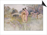 Japanese Couple in a Garden Prints by Warwick Goble