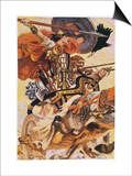 Cuchulain (Cu Chulainn) Rides His Chariot into Battle Print by Joseph Christian Leyendecker