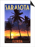 Sarasota, Florida - Palms and Sunset Poster by  Lantern Press