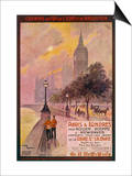 By Rail and Sea from Paris to Brighton or London Featuring the Embankment and Big Ben 6 of 8 Prints by Maurice Toussaint