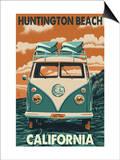 Huntington Beach, California - VW Van Posters by  Lantern Press