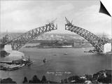 The Sydney Harbour Bridge During Construction in Sydney, New South Wales, Australia Prints