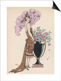 Frock Fur and Feather Fan Prints by Georges Barbier