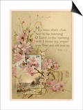 My Voice Shalt Thou Hear-- Text with Floral Ornament and a Rustic Scene Posters