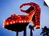 Red Neon Shoe Glowing at Dusk Along Fremont Street Prints by Ray Laskowitz