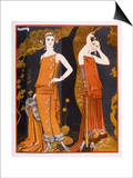 Orientally Inspired Gowns by Worth in Lacquer Reds Art par Georges Barbier