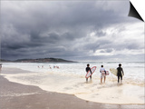 Young Surfers Entering Sea at Meron Beach Posters by Diego Lezama