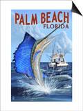 Palm Beach, Florida - Sailfish Scene Prints by  Lantern Press