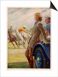 Advertisement for Dunlop Tyres Showing Spectators Watching a Polo Match Poster