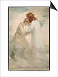 Leo Tolstoy the Russian Novelist Embracing Jesus Print by Jan Styka