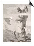 Norwegian Giant Little Fred and the Giant Beggar Print by Theodor Kittelsen