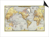 1943 World Map Poster by  National Geographic Maps