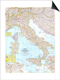 1961 Italy Map Print