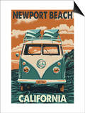 Newport Beach, California - VW Van Posters by  Lantern Press