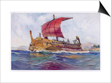 Light Fighting Ship from Classical Greece Prints by Albert Sebille