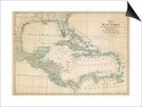The Caribbean with the West Indies and the Coasts of the United States and the Spanish Possessions Prints by John Blair